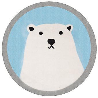 Kids carpet soft contour cutting circular polar bear Lennox 100 cm