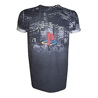 SONY PlayStation staden landskap All-Over sublimering T-Shirt Extra stor mörkgrå (TS221003SNY-XL)