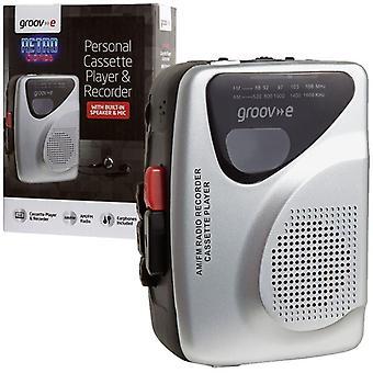 Groov-e Retro personlig kassettspiller og opptaker med hodetelefoner - sølv