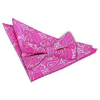 Fuksja różowy Paisley muszka & placu kieszeni zestaw