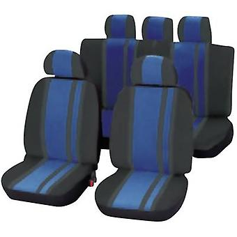 Unitec 84959 Newline Seat covers 14-piece Polyester Blue, Black Drivers seat, Passenger seat, Back seat