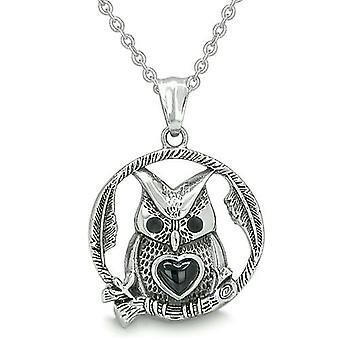 Uil schattig hart Amulet positieve bossen energie krachten Magic Circle medaillon Onyx hanger ketting