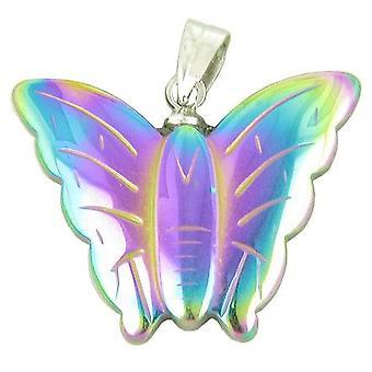 Heldig og lykkelig Butterfly anheng i Rainbow hematitt Gemstone