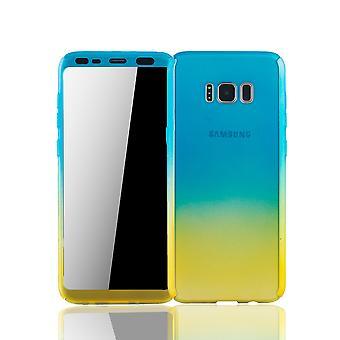 Samsung Galaxy S8 Plus Handyhülle Schutzcase Full Cover 360 Displayschutz Folie Blau / Gelb