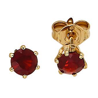Garnet Earrings boutons 585 Gold Yellow Gold 2 grenade red gold earrings Garnet jewelry