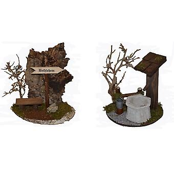 Krippenzubehör Krippenset Brunnen mit Zaun und Busch Bethlehem Schild und Bank