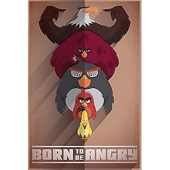 Cartel de Angry birds nacida para estar enojado