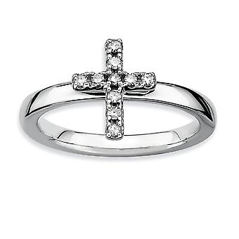 925 Sterling Silver Polished Prong set Rhodium plated Stackable Expressions Religious Faith Cross Diamond Ring Jewelry G