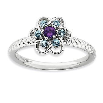 2.5mm 925 Sterling Silver Polished Prong set Stackable Expressions Amethyst and Blue Topaz Stackable Ring Jewelry Gifts