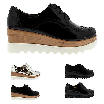 Womens Wedge Heel Brogue Cleated Sole Chic Fashion Pumps Oxfords Shoes UK 3-10