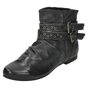 Ladies Spot On Low Heel Ankle Boot with Two Buckle Straps