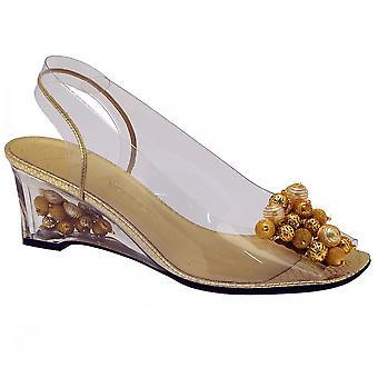 Azuree Perspex Gold Bead Trim Wedge Sandal