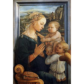 Madonna and Child with Two Angels, Fra Filippo Lippi, 60x40cm