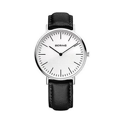 Bering Classic Silver Coloured Black Leather Strap Men's Watch 13738-404 38mm