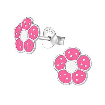 Flower - 925 Sterling Silver Colourful Ear Studs - W972x