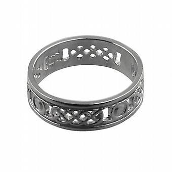 Silber 6mm durchbohrt Celtic Wedding Ring Größe Z
