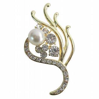 Attraktive Hochzeit Jahrgang Golden Brautjungfer verziert Perlen Broschen