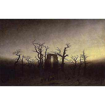 Abbaye dans le Bois d'Oakwood, Caspar David Friedrich, 60x38cm