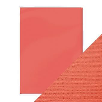 Craft Perfect by Tonic Studios A4 Weave Textured Card 10pk Coral Pink
