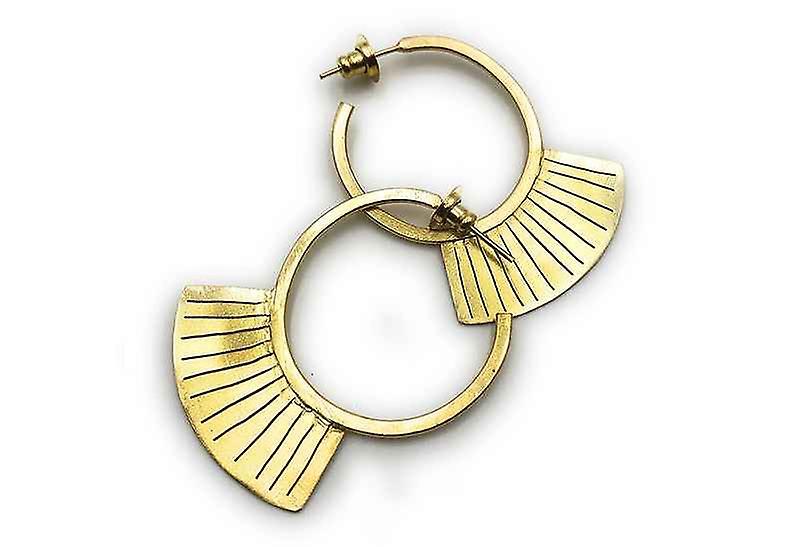 Handmade Ethnic Geometry Fan Hoop Earrings