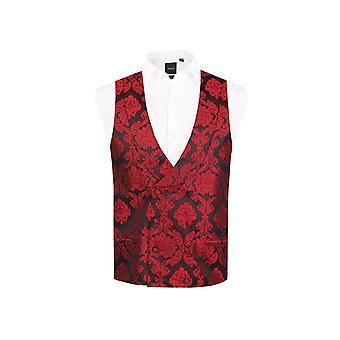 Dobell mężczyźni Red kamizelka Regular fit podwójny breasted szal Lapel wiktoriański Żakardowy