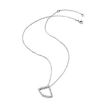 Kaytie Wu Silver Plated Fan Necklace With Swarovski Crystals 28052