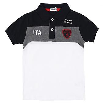 Lamborghini Kids Automobili Lamborghini Polo Shirt,Navy  Grey White