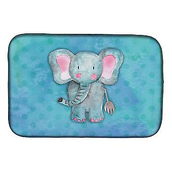 Carolines Treasures  BB7372DDM Blue Elepant Watercolor Dish Drying Mat