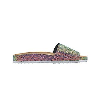 Via Rosa Ladies Footbed Sandal Chunky Glitter Slip On Slide Shoe With Glitter Sidewall