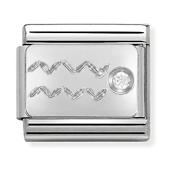 Nomination Classic Aquarius Zodiac Steel, CZ and 925 Silver Link Charm 330302/11