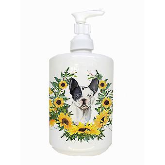 Preto branco francês bulldog dispensador de sabão cerâmico