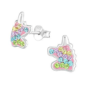 Unicorn - 925 Sterling Silver Crystal Ear Studs - W38703X