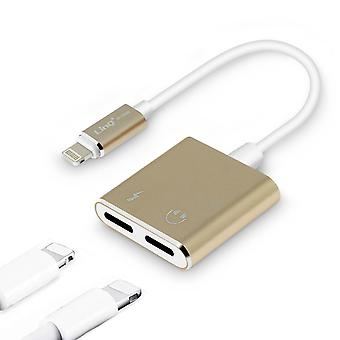 iPhone/iPad/iPod 2x Lightning charge & Audio Adapter Cable- LinQ, Gold