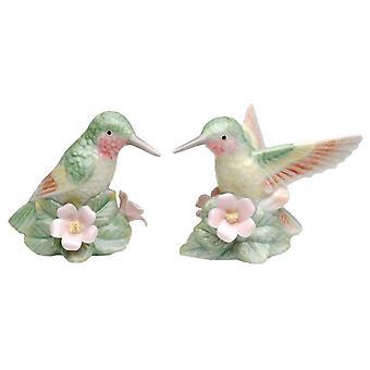 الطائر الطنان الأخضر زوج الطيور يجلس على الزهور الوردي الملح والفلفل الهزازات