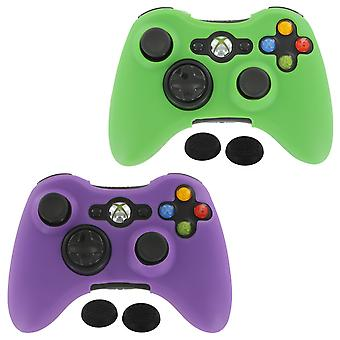 Controller Cover Skin & tommelfinger Grip twin pack til Microsoft Xbox 360-grøn & lilla