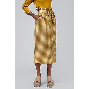 Louche Prescilla Gingham Paperbag Waist Midi Skirt Yellow