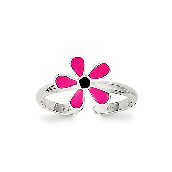 925 Sterling Argento Solido Rosa Smaltato Floral Toe Ring - 1.0 Grammi