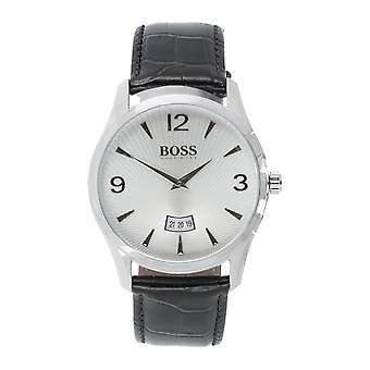 Hugo BOSS COMMANDER Men's Analog Bracelet Watch Leather Black Silver NEW Sale OVP