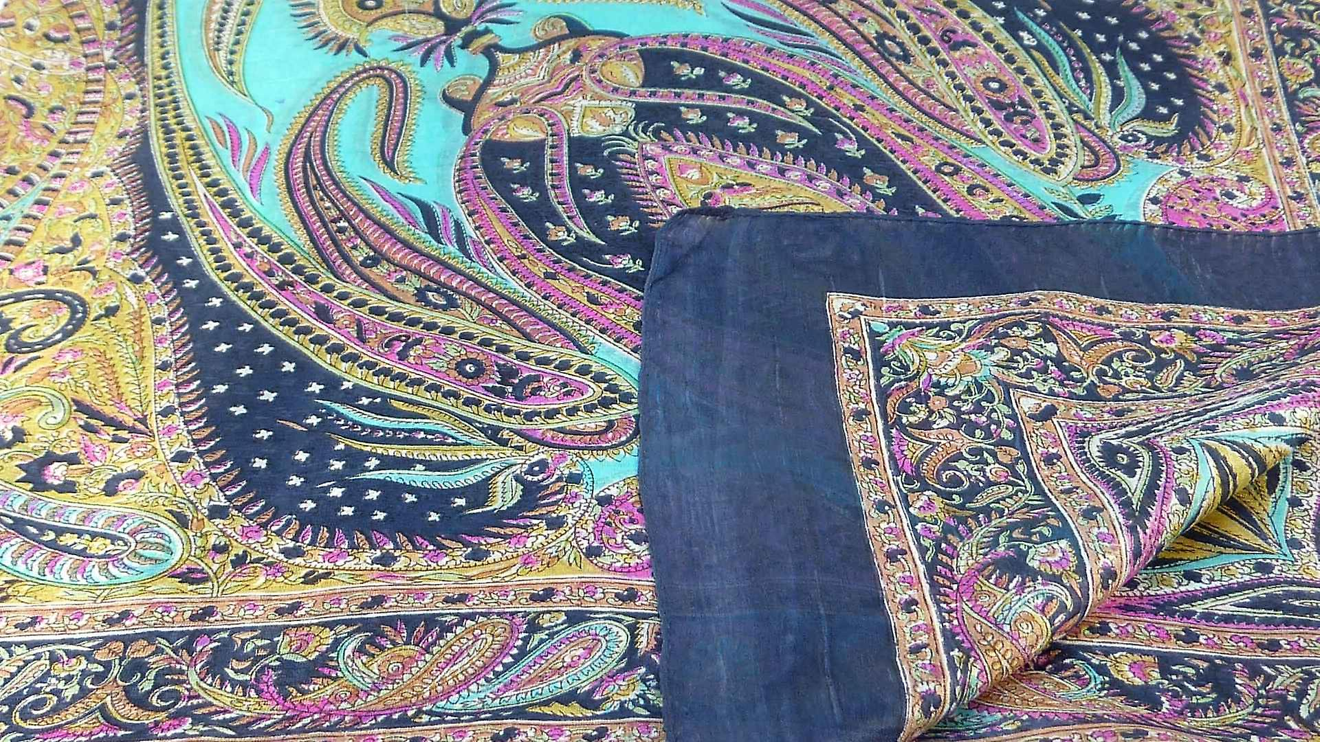 Mulberry Silk Traditional Square Scarf Zayd Navy by Pashmina & Silk