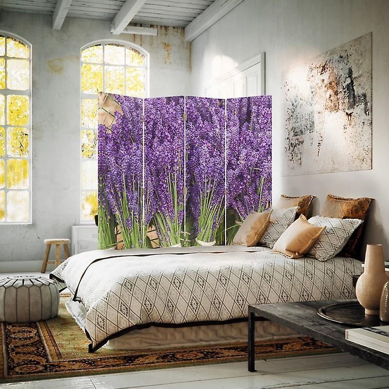 Diviseur de chambre, 4 panneaux, toile, Bouquet Lavande 2