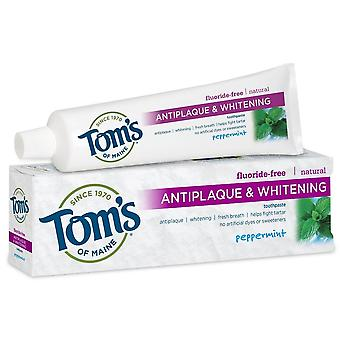 Tom di antiplaque maine & sbiancante dentifricio, menta piperita, 5,5 oz
