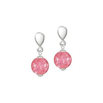 Eternal Collection Carnival Coral Pink Glass Crackle Silver Tone Drop Screw Back Clip On Earrings