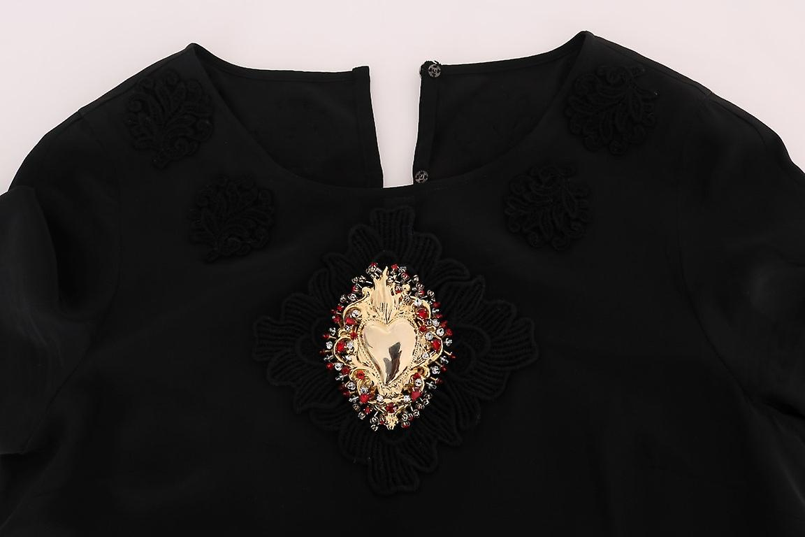 Black Sacred Heart Lace Top Blouse