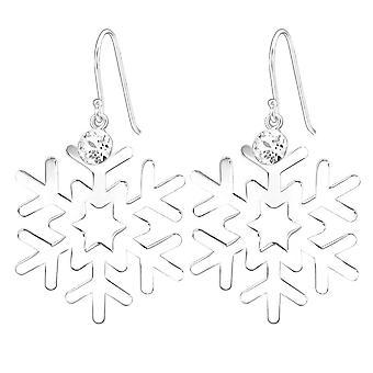 Sterling Silver Snowflake Swarovski Crystal Drop Earrings