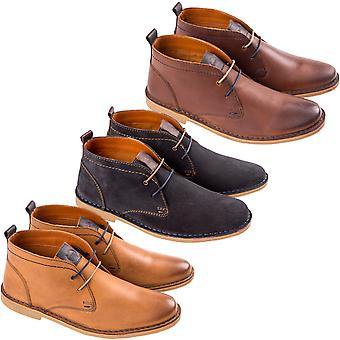 Ikon Mens Ripley Smart Casual Lace Up Stiched Desert Ankle Boots Shoes