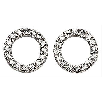 Beginnings Open Disk Pave Earrings - Silver