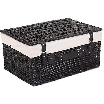 51cm Empty Black Willow Picnic Basket With White Lining
