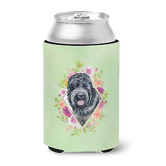 Russian Black Terrier Green Flowers Can or Bottle Hugger