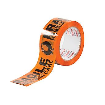 6 Rollen Fragile Dispatch Tape Orange Schwarz 48Mmx75M