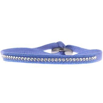 Bracelet interchangeable A30481 - fabric blue woman Swarovski crystals Bracelet